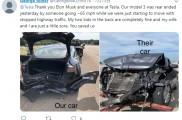 特斯拉Model 3被追尾,车主感谢特斯拉和马斯克救了自己一家性命